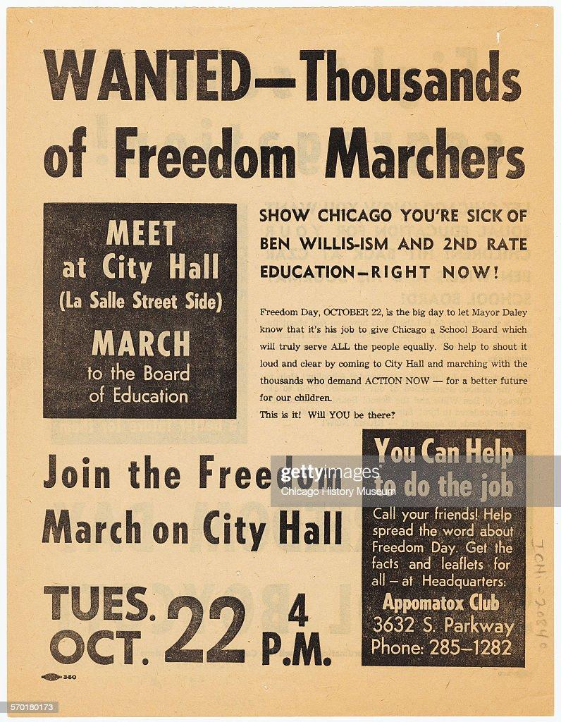 Flyer advertising Freedom Day School Boycott : News Photo