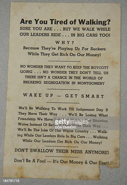 Flyer Black Opposition to the Montgomery Bus Boycott is displayed at Heritage Auctions October 16 2013 in New York Martin Luther King Jr's...