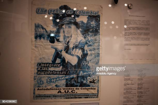 Flyer inviting people to enjoy the paramilitary forces, displayed at the exhibition of 'History of the Violence in the Country' in Bogota, Colombia...