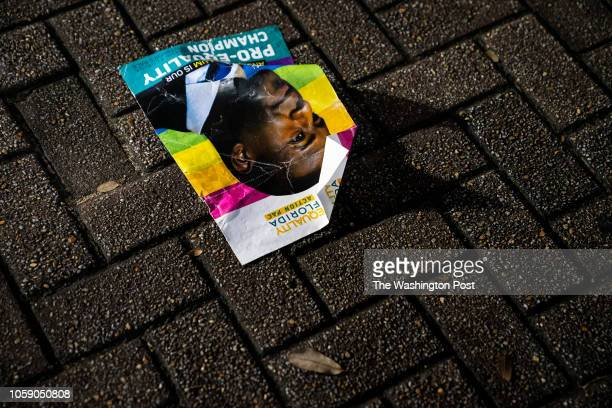 A flyer is seen left behind after Tallahassee Mayor and Democratic nominee for Governor of Florida Andrew Gillum conceded the governorship to Ron...