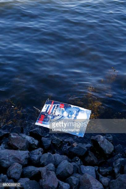 A flyer of Torsten Albig incumbent candidate of the German Social Democrats is seen swimming in the water in SchleswigHolstein on May 7 2017 in Kiel...
