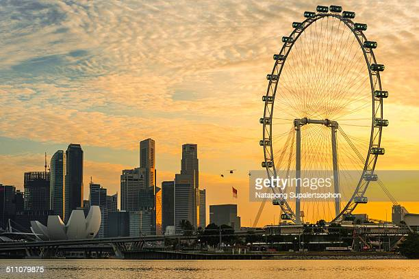 flyer on singapore national day - singapore flyer stock photos and pictures