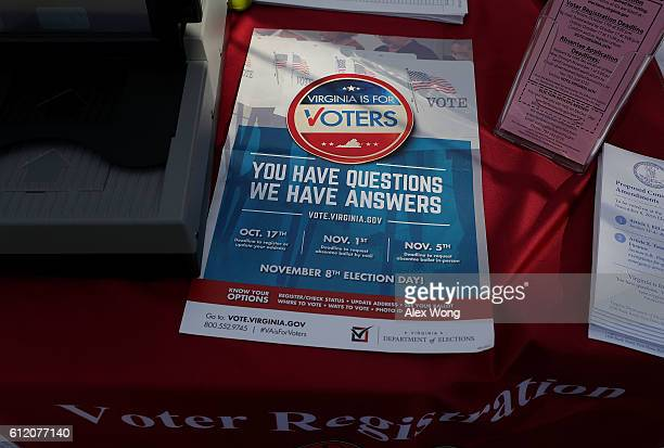 A flyer regarding voting deadlines is seen at the booth of Fairfax County Office of Elections during the annual KORUS festival a Korean cultural...