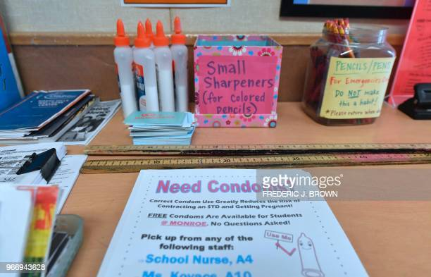 A flyer reminds students of the availability of condoms as well as their confidentiality in the classroom of Health Education teacher Leticia Jenkins...