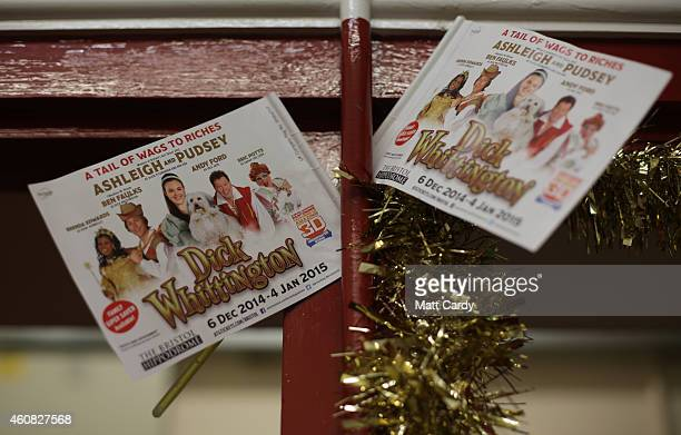 Flyers are seen backstage at the start of The Bristol Hippodrome's production of Dick Whittington on December 23, 2014 in Bristol, England. Many...
