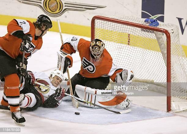 Flyers goalie Antero Niittymaki makes a save on a shot by Senator left winger Vaclav Varada during the Ottawa Senators vs Philadelphia Flyers game at...