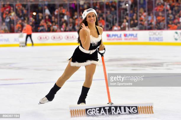 Flyers ice girls cleans the ice during the NHL game between the Detroit Red Wings and the Philadelphia Flyers on December 20 2017 at the Wells Fargo...