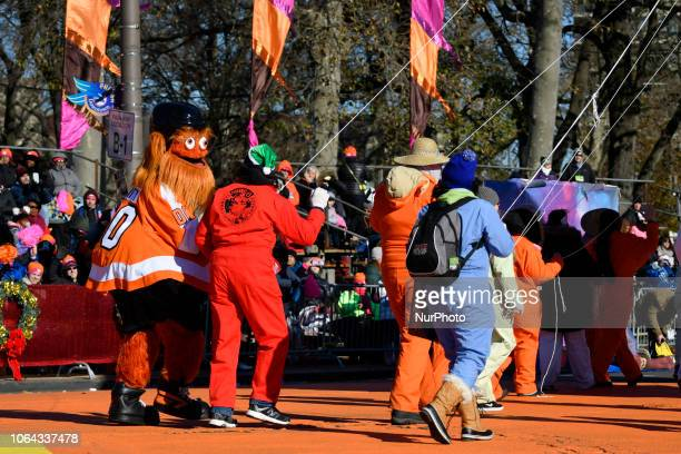 NFL Flyers' mascot Gritty during the 99th 6ABC/Dunkin' Donuts Annual Thanksgiving Day parade in Philadelphia PA on November 22 2018 The annual parade...