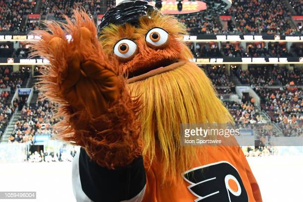 Flyers mascot Gritty entertains the crowd during the NHL game between the Arizona Coyotes and the Philadelphia Flyers on November 8 2018 at the Wells...