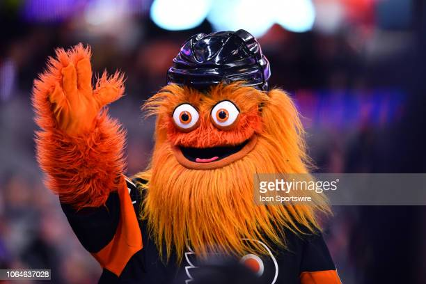 Flyers mascot Gritty interacts with the crowd in the third period during the game between the Philadelphia Flyers and New York Rangers on November 23...