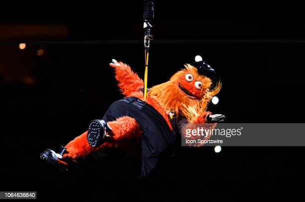 Flyers mascot Gritty is lowered to the ice before the game between the Philadelphia Flyers and New York Rangers on November 23 2018 at Wells Fargo...