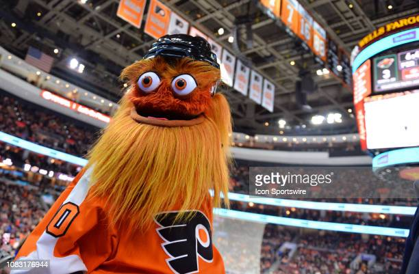 Flyers mascot Gritty looks into the crowd in the second period during the game between the Minnesota Wild and Philadelphia Flyers on January 14 2019...