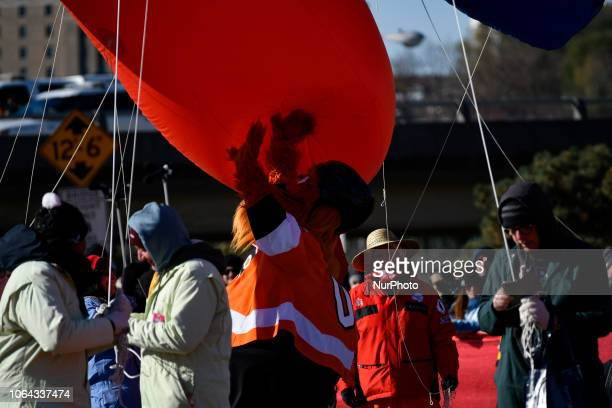 NFL Flyers' mascot Gritty plays with a balloon during the 99th 6ABC/Dunkin' Donuts Annual Thanksgiving Day parade in Philadelphia PA on November 22...
