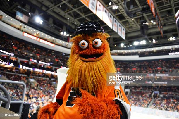 Flyers mascot Gritty walks through the crowd during the game between the Tampa Bay Lightning and Philadelphia Flyers on February 19 2019 at Wells...