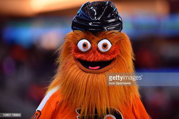 Flyers mascot Gritty walks through the stands in the second period during the game between the Minnesota Wild and Philadelphia Flyers on January 14...
