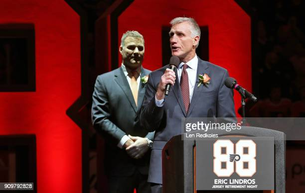 Flyers President Paul Holmgren speaks during the Eric Lindros Jersey Retirement Night ceremony with NHL Hall of Famer and former Philadelphia Flyer...