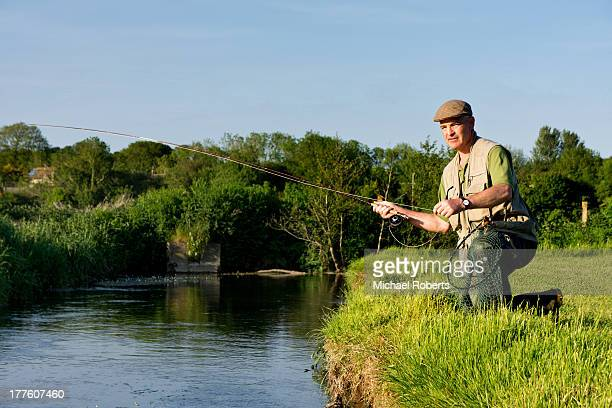 Fly-fisherman on river Frome
