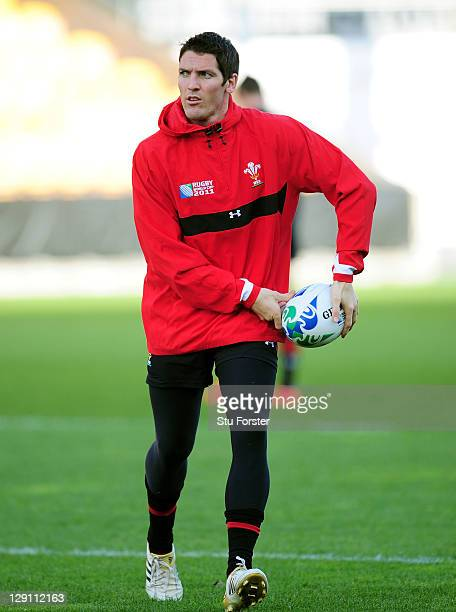 Flyhalf James Hook runs with the ball during a Wales IRB Rugby World Cup 2011 training session at Mt Smart Stadium on October 13 2011 in Auckland New...