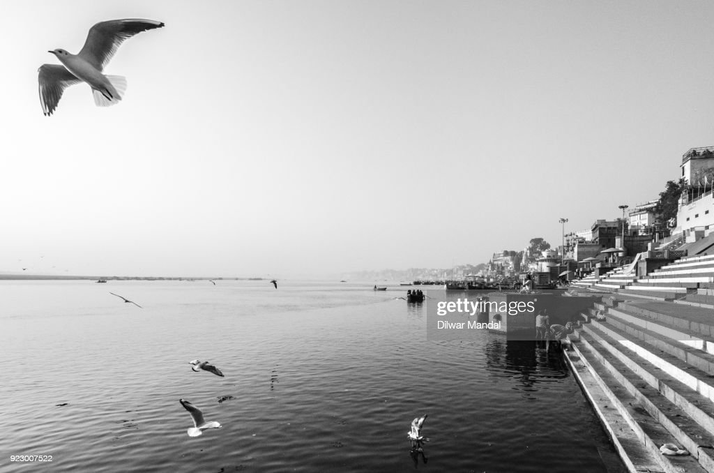 Flying above river Ganges : Stockfoto