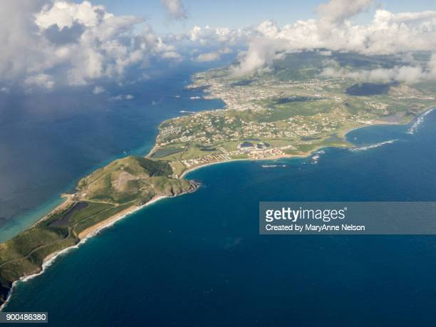 flying above st kitts - st. kitts stock photos and pictures