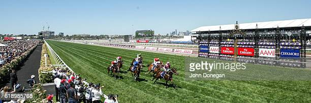 Flying Artie ridden by Hugh Bowman wins Coolmore Stud Stakes at Flemington Racecourse on October 29 2016 in Flemington Australia