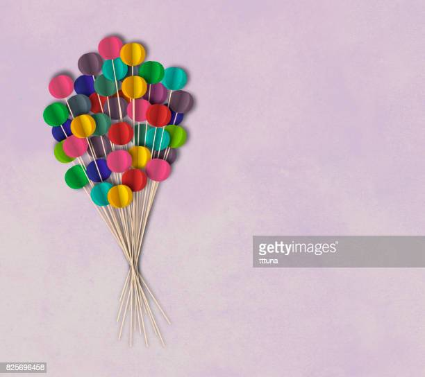Flying balloons on textured background, paper cutting style