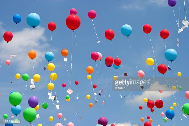 flying balloons - releasing stock pictures, royalty-free photos & images