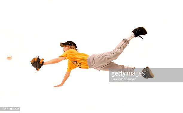 flying baseball catch - baseball player stock pictures, royalty-free photos & images