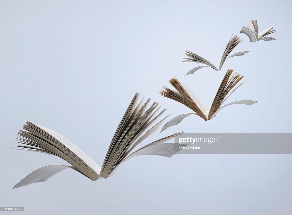 Flying books : Stockfoto