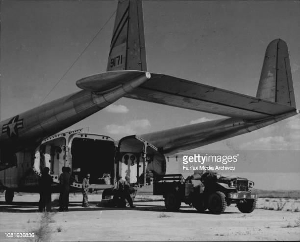 A flying boxcar being used in the airlift from Japan to Korea was diverted to the airship at Suwon which had just been taken by Allied troops...