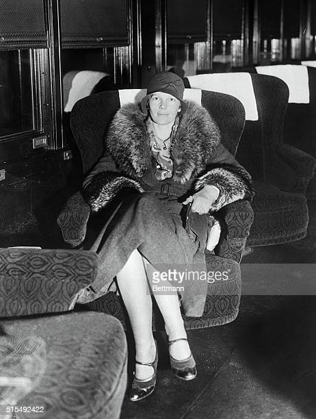 """Flying Bride of Prominent Publisher. New York City: Pictured above is """"Miss Amelia Earhart,"""" as she will continue to be known on a train at..."""