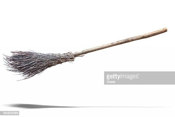 flying broom - broom stock pictures, royalty-free photos & images