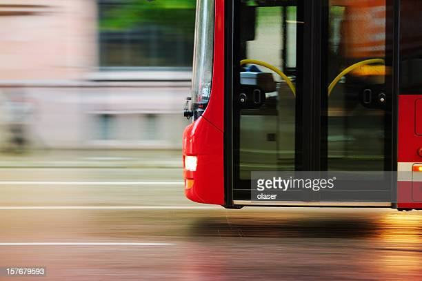 flying bus in the city traffic, rush hour - bus stock photos and pictures