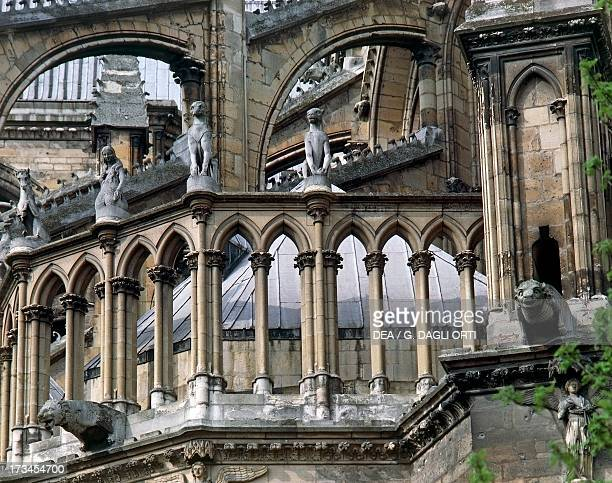 Flying buttresses and architectural elements Cathedral of NotreDame Reims ChampagneArdenne France