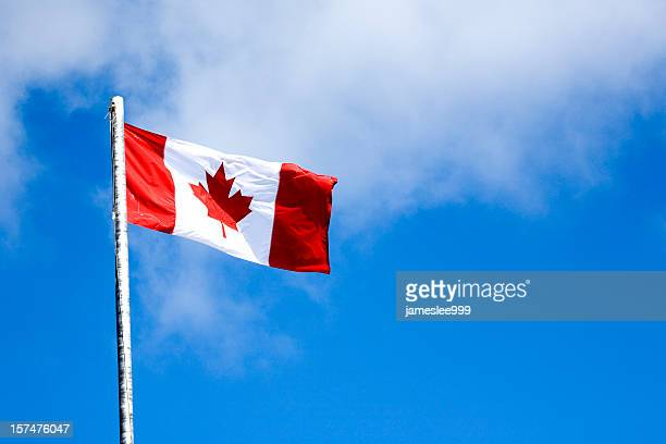 A flying Canadian flag on a sky blue background