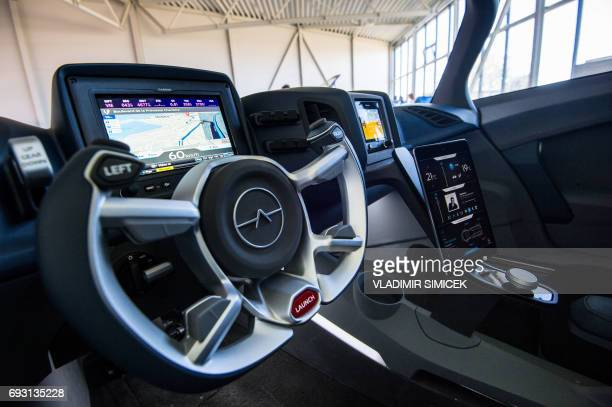 A flying car AeroMobil is on display during a media presentation in the headquarters of AeroMobil company in Bratislava on May 19 2017 In Slovakia...