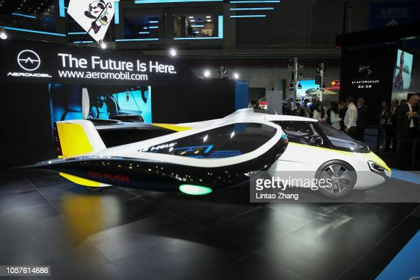 A flying car made form AeroMobil display at the first China International Import Expo at the National Exhibition and Convention Centre on November 5...