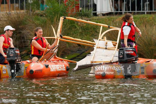 Flying craft are recovered from the water during the Birdman Rally on March 11 2018 in Melbourne Australia The annual charity event sees entrants in...