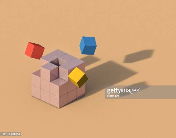 flying cubes forming anthropomorphic shadow - concept stock pictures, royalty-free photos & images