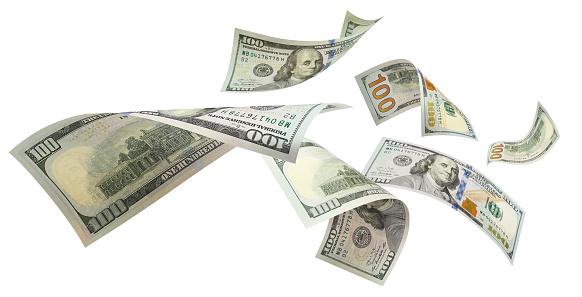 Flying dollars on white 1153277349