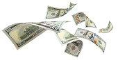 Flying dollars on white
