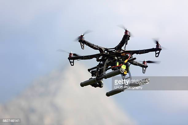 Flying drone in Mountain Area, Tyro, Austria