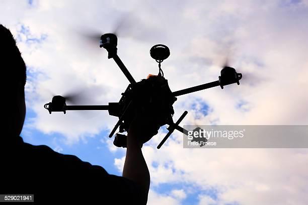 flying drone, octocopter - オクトコプター ストックフォトと画像
