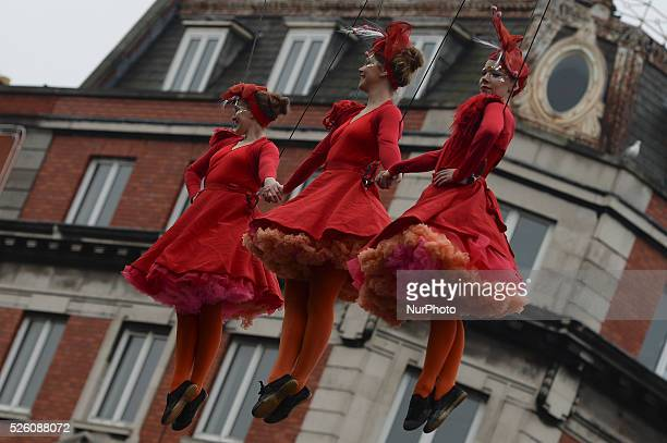 Flying Elves in Dublin's city center as Dublin City Council surprise Christmas shoppers with Flying Elves on O'Connell Street a show run by Fidget...