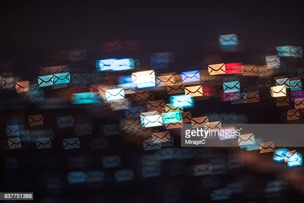 Flying Envelope Message in City Night