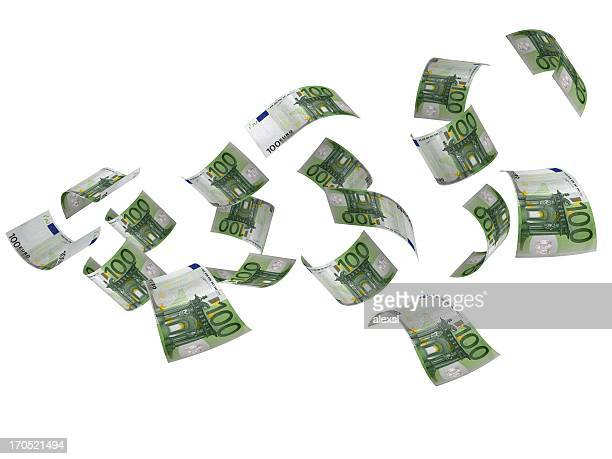 flying euro banknotes - euro symbol stock photos and pictures