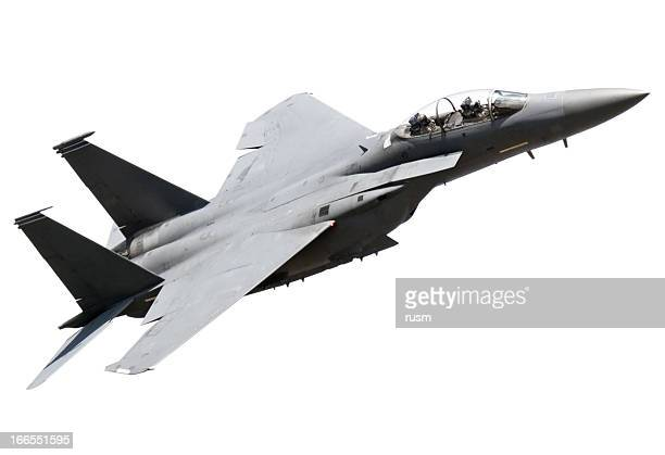 flying fighter plane on white background - air force stock pictures, royalty-free photos & images