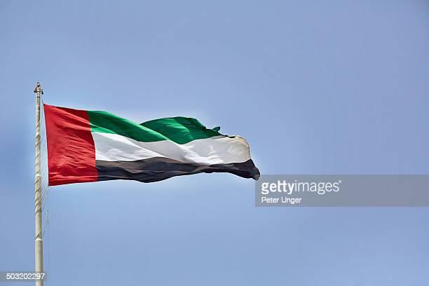 Flying Flag of United Arab Emirates