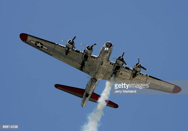 Flying Fortress from the Yankee Air Museum does a fly over prior to the NASCAR Nationwide Series at Michigan International Speedway on August 15 2009...