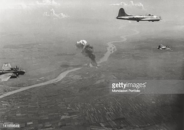 Flying Fortresses in flight after bombing the Gyor plants Budapest 9th August 1944